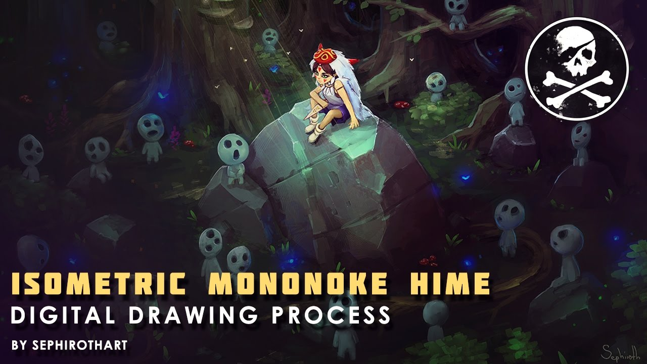 Isometric Mononoke Hime ● Digital Drawing [ Sephiroth Art ]