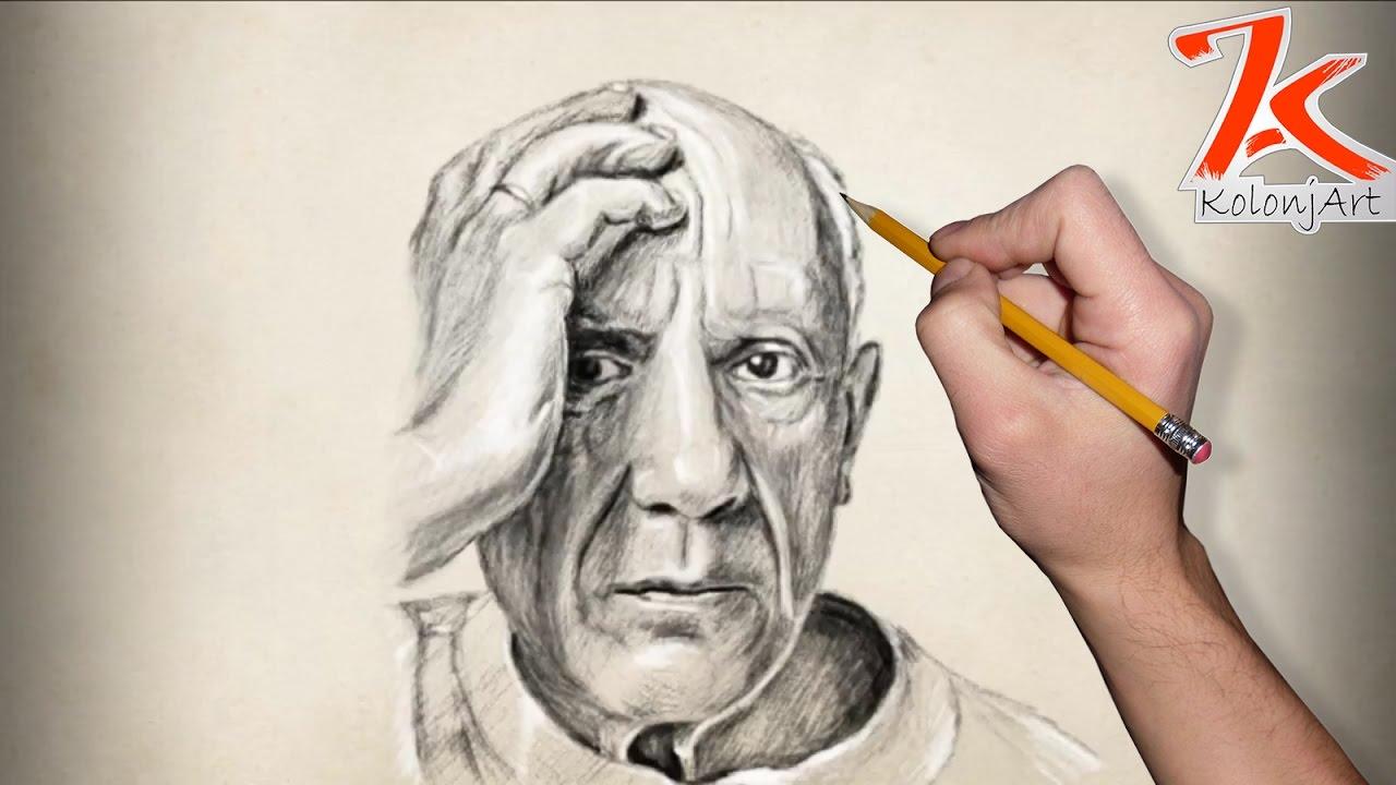 Pablo picasso pencil portrait stop motion by kolonjart