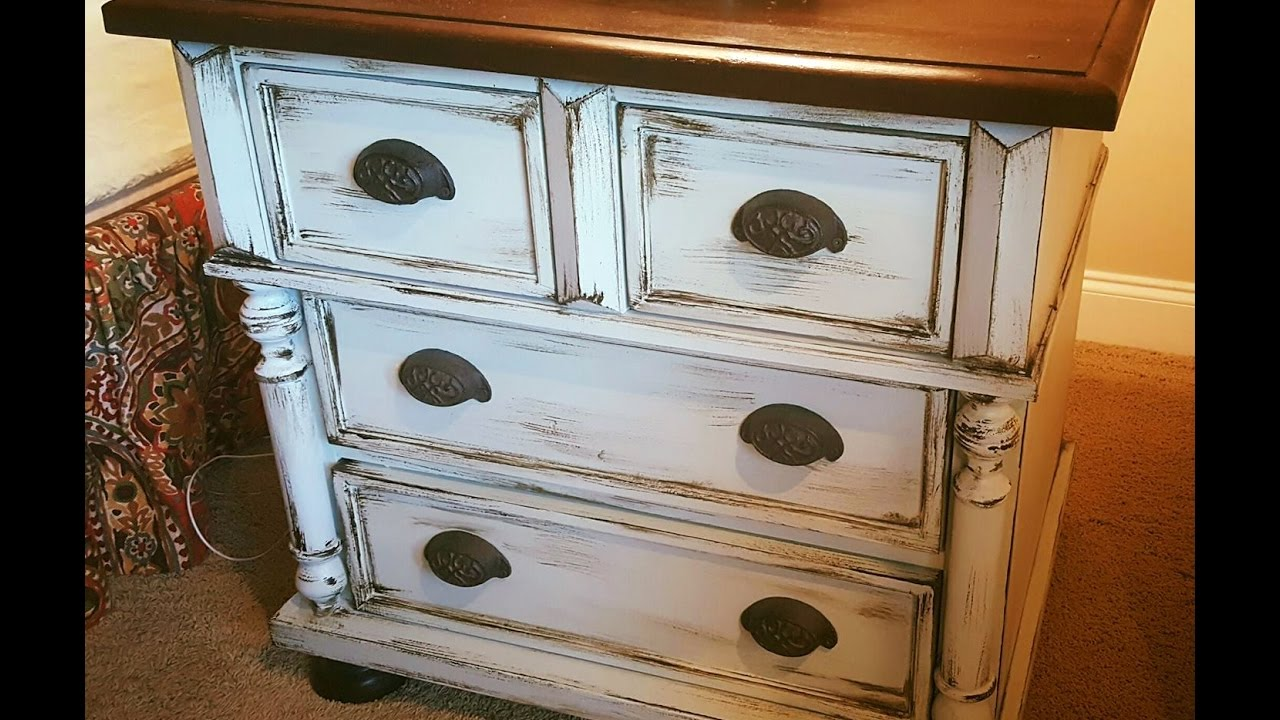 Easiest Faux Finish Ever Vanity Dresser Diy Makeover Distressed