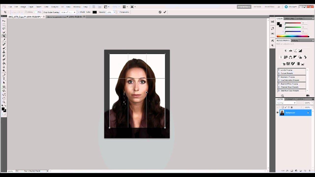 Фото на документы в photoshop - YouTube