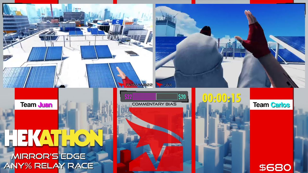 Mirror's Edge [Any% Relay Race] by Team Juan and Team Carlos - #HEK20