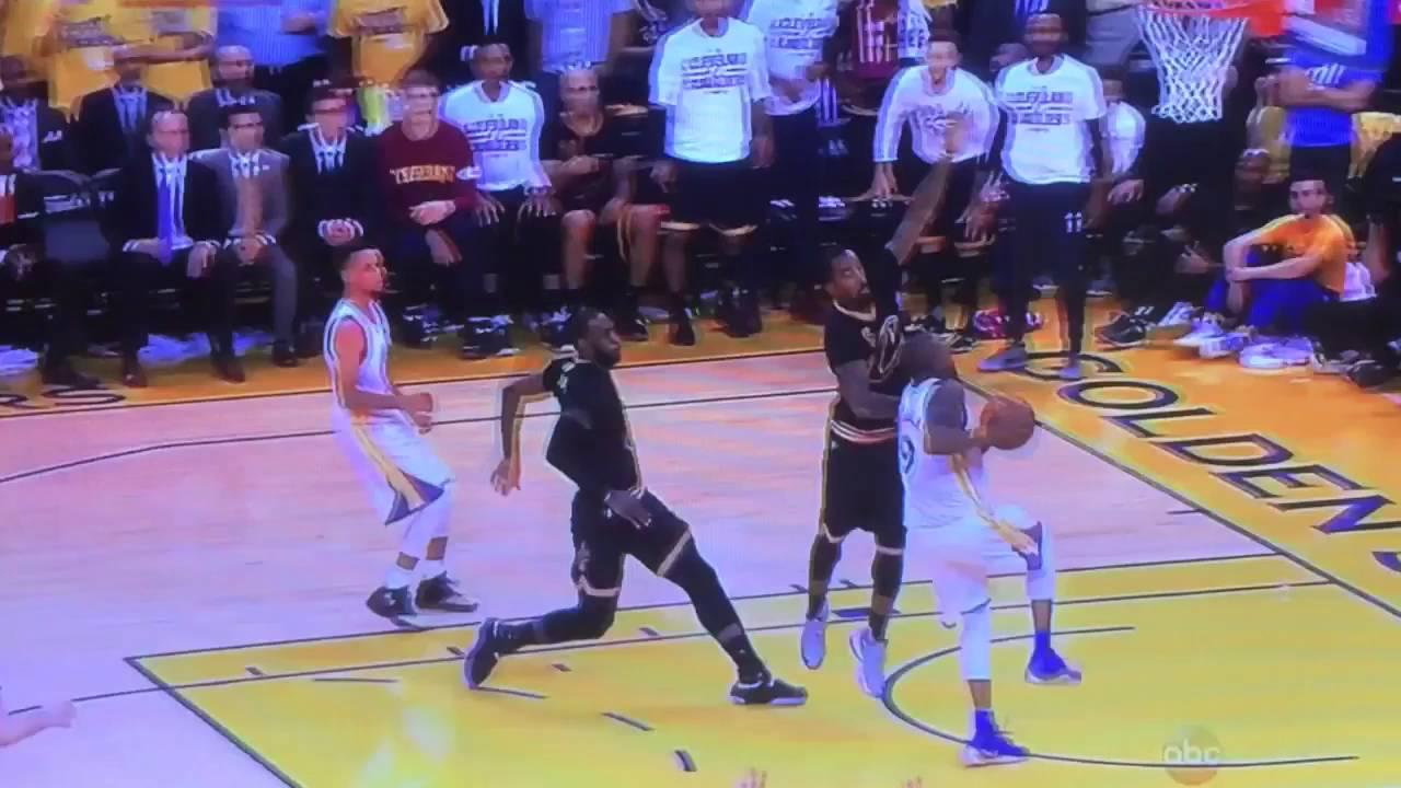 Lebron James BLOCKS Andre Iguodala shot pinning it to the backboard 2016  NBA FINALS d278b48702ba
