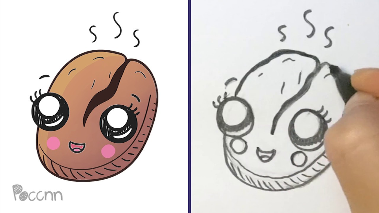 Cómo Dibujar Un Grano De Café Kawaii