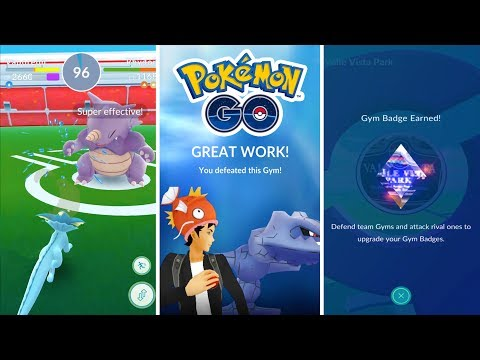FIRST EVER NEW UPDATE GYM BATTLE! ATTACKING, GETTING BADGES, & POSTING UP! - POKEMON GO