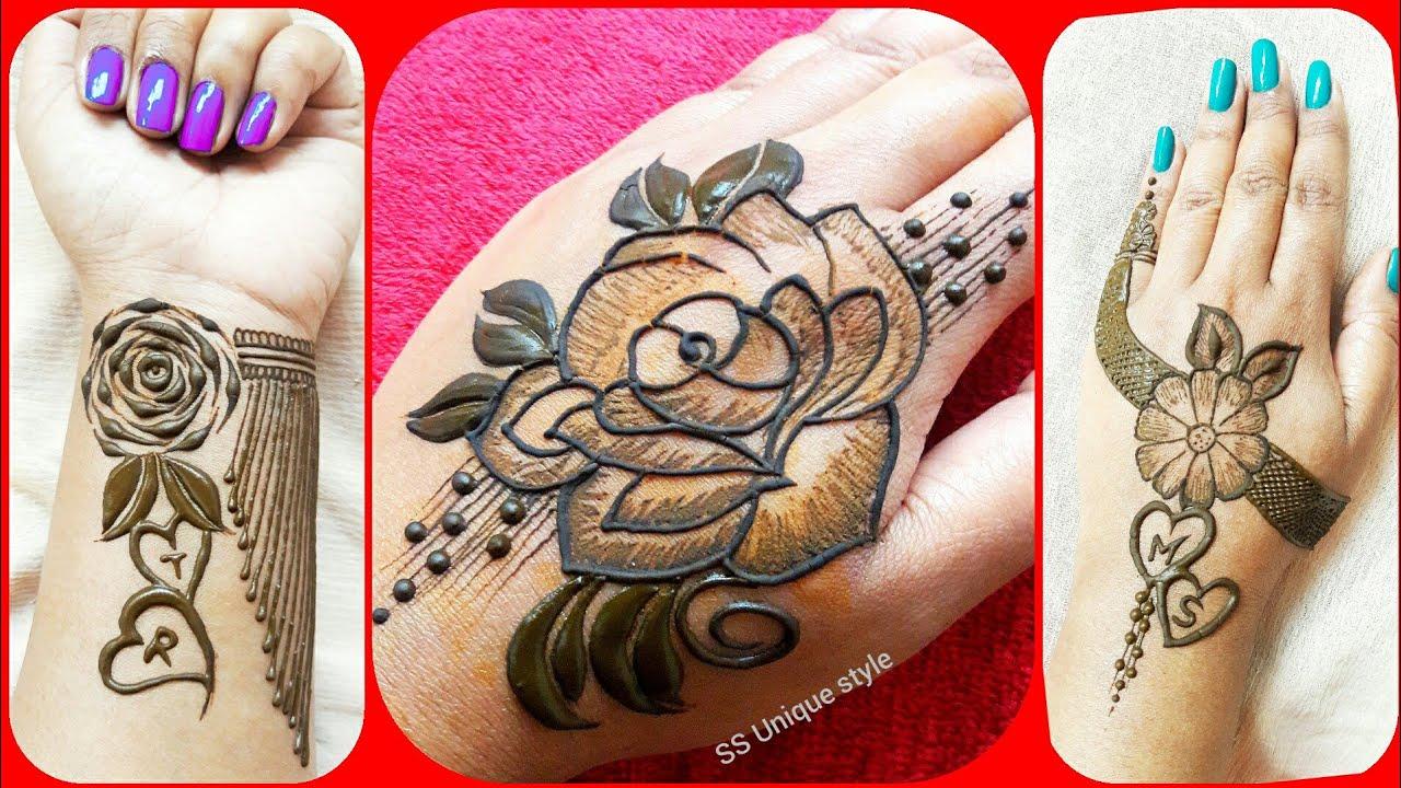 stylish rose tattoo mehndi designs bracelet tattoo mehndi m,s,t letter mehndi design SS unique ...