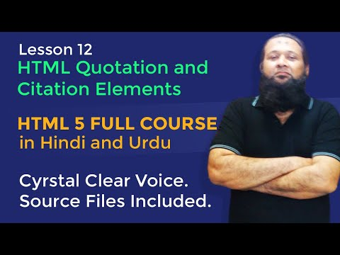 Lesson 12 - HTML5 Full Course In Hindi & Urdu - HTML Quotation And Citation Elements