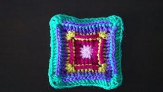 Квадратный мотив крючком+мотив для мыска обуви из квадратов / Crochet square motif