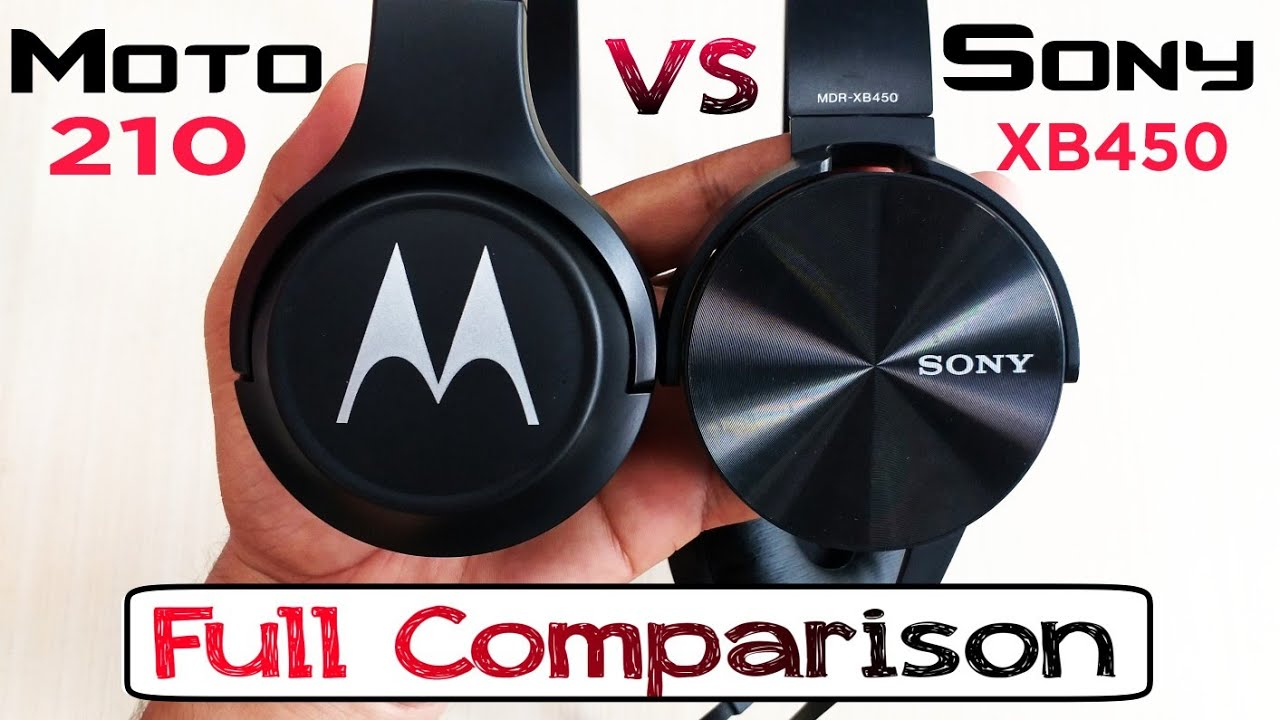 Sony Mdr Xb450 On Ear Extra Bass Headphones Vs Motorola Escape 210 Over The Ear Bluetooth Headphones Youtube