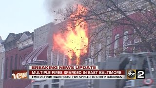 Fires sweep across E. Baltimore on a windy winter day, burning nine buildings.