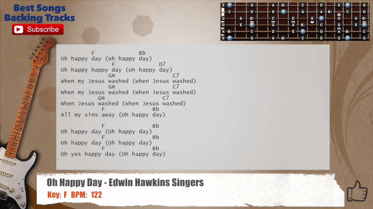 Oh Happy Day Edwin Hawkins Singers Guitar Backing Track With