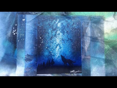 Howling at the night sky Spray Paint Art
