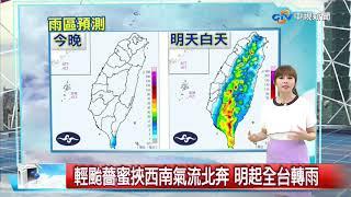 輕颱薔蜜挾西南氣流北奔 明起全台轉雨│中視新聞 20200809