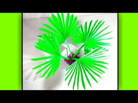 Diy fan palm leaves  paper craft idea  kb crafter