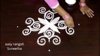 Beautiful kolam with 7 dots || Latest muggulu patterns || Simple rangoli designs