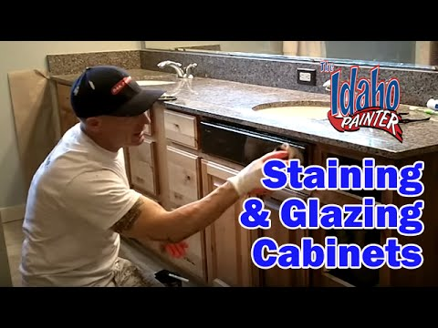 Painting Bathroom Cabinets Dark Brown using glaze to highlight cabinets. tips refinishing or painting