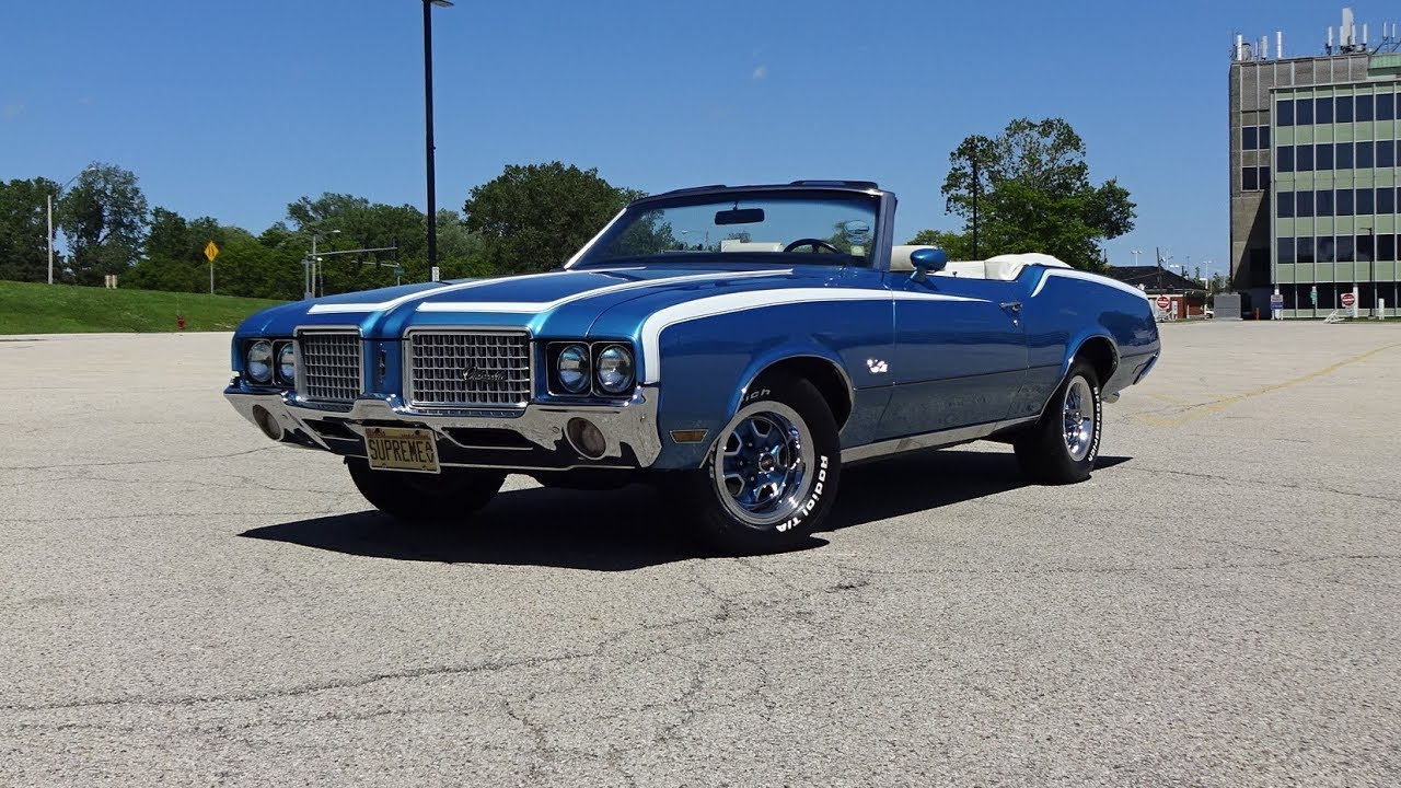 1972 oldsmobile cutlass supreme convertible in blue engine sound my car story with lou costabile