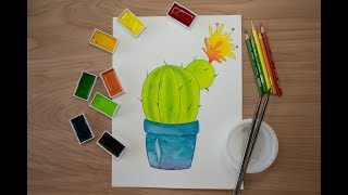 Drawing Cactus. Watercolor lesson for kids.