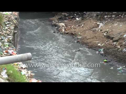 Kanpur tannery run-off drains empty into Ganga river