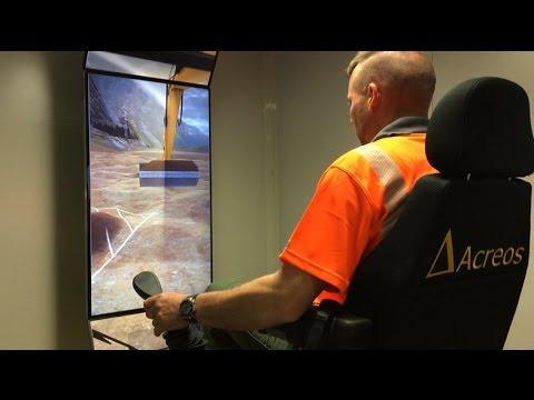 Un simulateur d'engins de chantiers