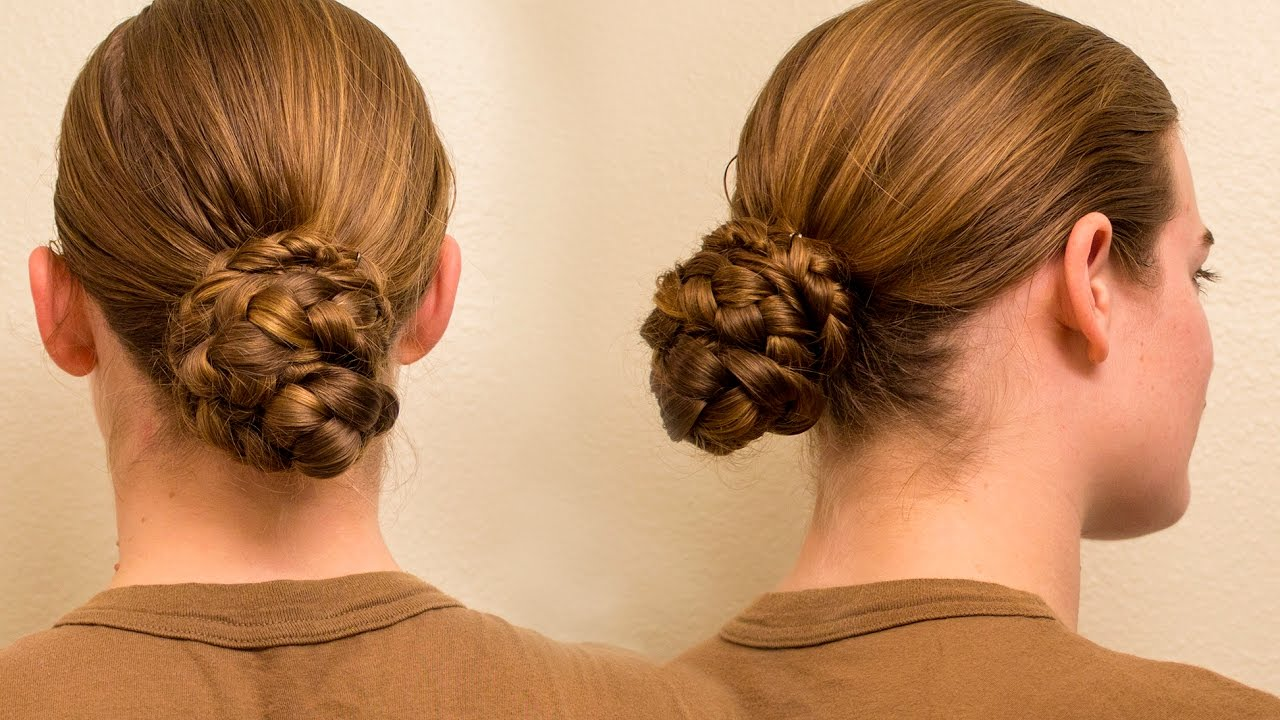 Military Regulation Braid Bun For Long Hair Youtube