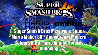 Super Smash Bros Mewtwo & The 30th Anniversary Modern Colours 8-Bit Mario Amiibo Figures Unboxing