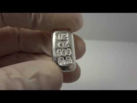 1/2 oz hand poured silver bullion bar skull and bones .999 fine