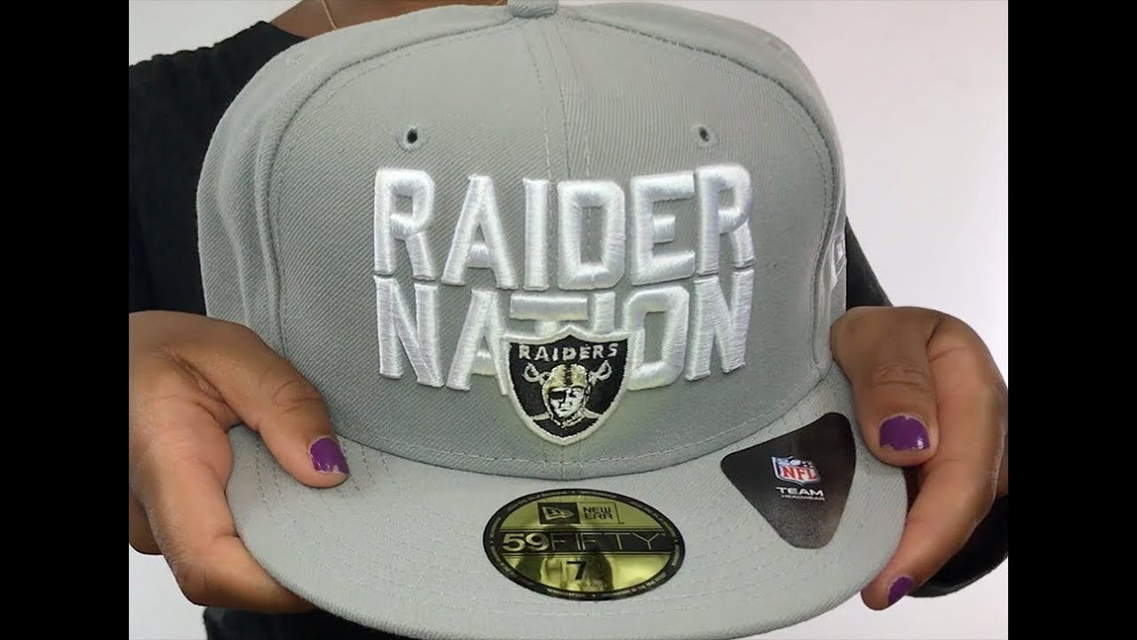 Raiders  RAIDER-NATION  Light Grey-White Fitted Hat by New Era - YouTube 7dc0f011e