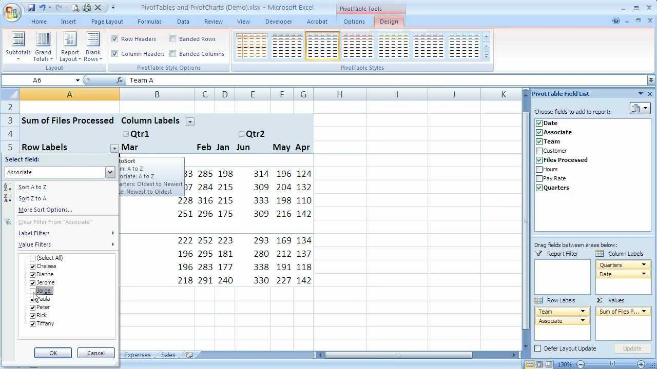 how to use pivottable filters in excel 2007  excel 07-109