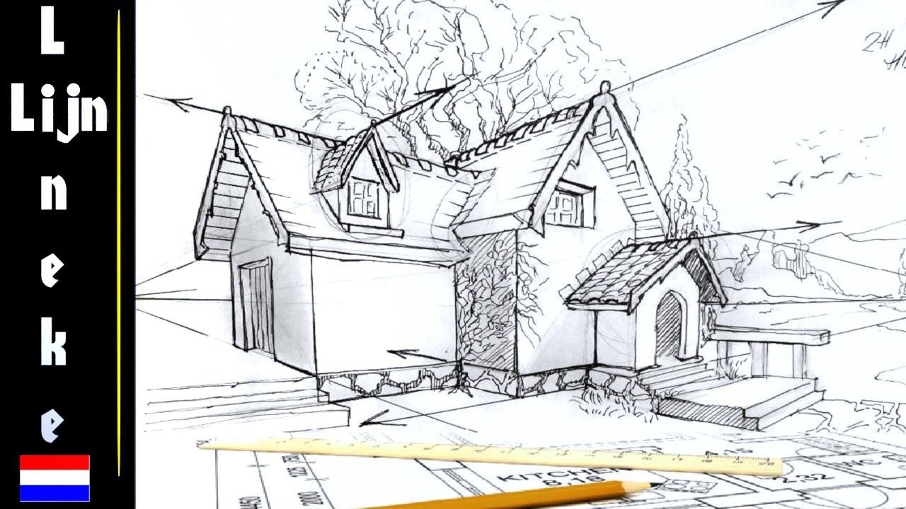 hoe teken je een huis 2 punt perspectief tekenen voor