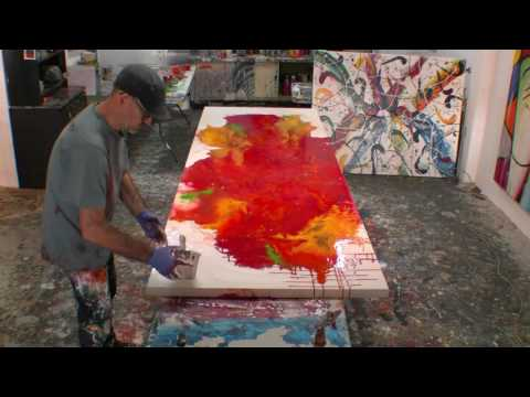 How to Paint Large Abstract Fluid Artworks Demo Art Lesson Ideas