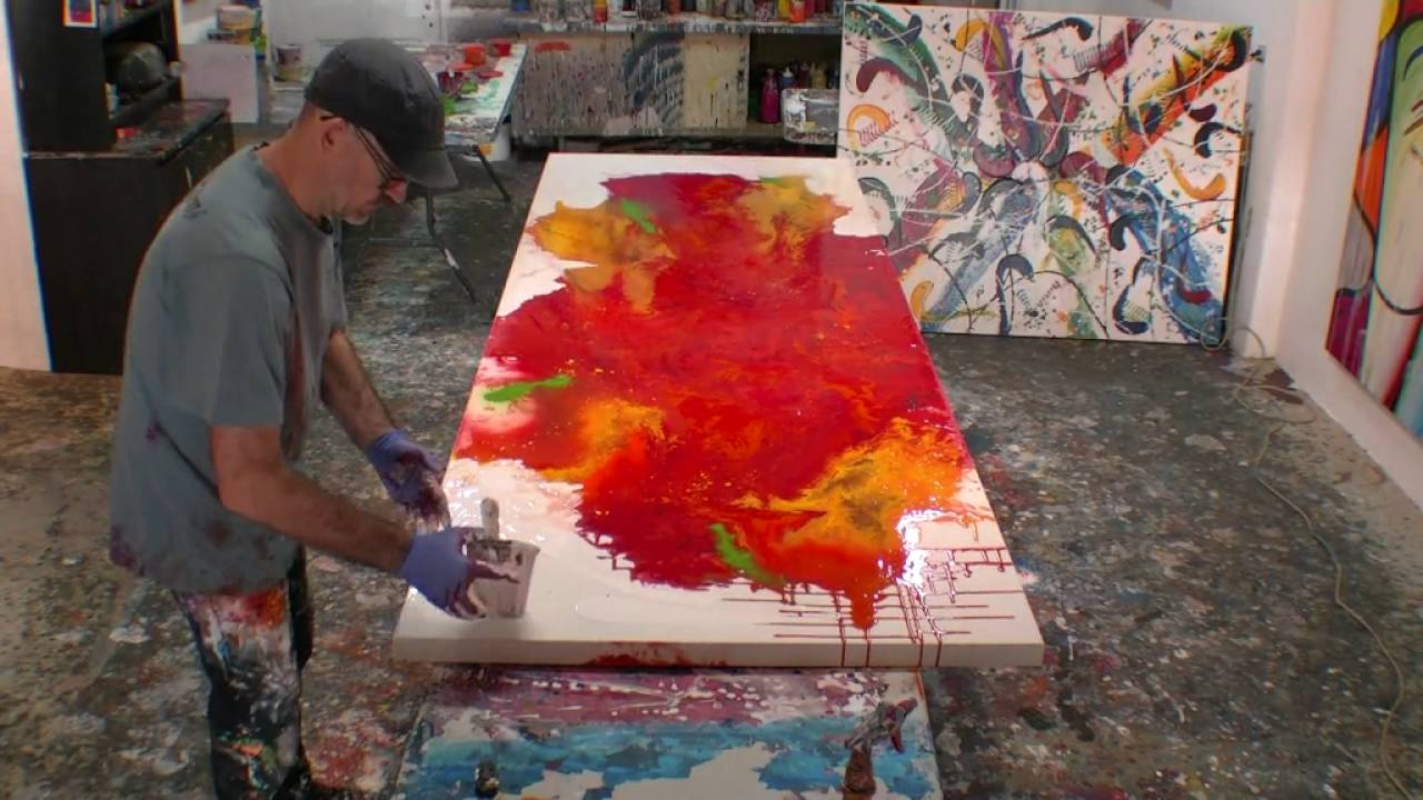 How To Paint Large Abstract Fluid Artworks Demo Art Lesson