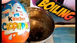 Kinder Surprise Egg boiling - what happens / Was passiert, wenn Man ein Schokoladenei kocht?