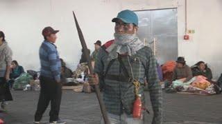 Guerreros indígenas de la Amazonía se unen a manifestaciones en Quito
