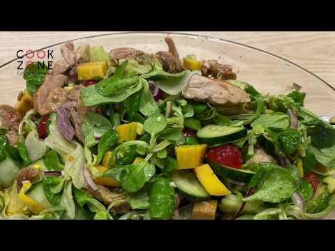 Вкусный, полезный и легкий «Салат из манго, авокадо и курицы»