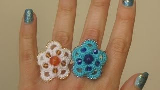 22' TUTORIAL FACILE ANELLO ORECCHINI ANKARS CON PERLE CHIACCHIERINO AD AGO EASY RING NEEDLE TATTING