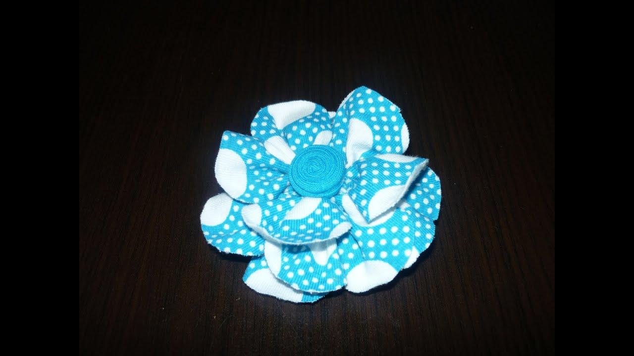 Como hacer flor de tela flor elegante de tela how to make - Como hacer cuadros de tela ...