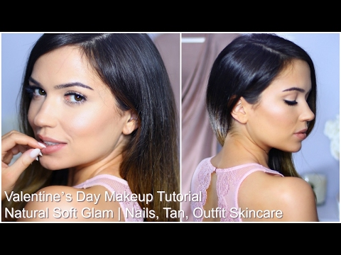 Valentine's Day Makeup Tutorial | Natural Soft Glam | Nails, Tan, Outfit Skincare | Giveaway