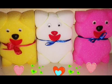 How To Make A Teddy Bear Using Sponge Simple Sponge Doll Craft For Kids