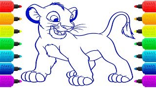 How to Draw Lion King Simba Coloring Pages for Children | Animal Colouring Book Page