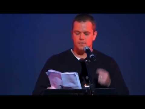Matt Damon Talks Elite, NWO -  Amazing Speech On This Evil World