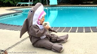 #SharkBaby and Chick. Baby wearing #Shark costume #Kisses Silky Chick | TexasGirly1979