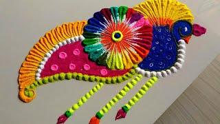 Easy & quick peacock Tulasi vivah special rangoli designs