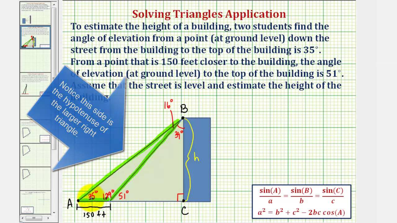 Ex Law Of Sines To Determine A Height Building Given Two Angles Elevation