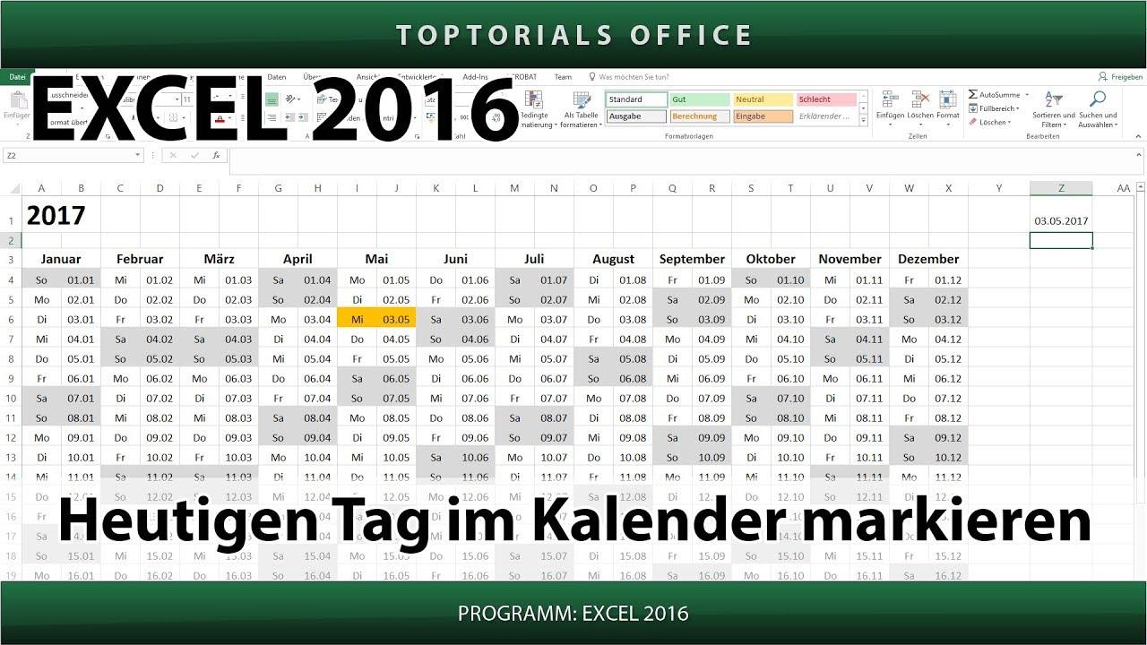 Heutigen Tag im Kalender markieren (Excel) - YouTube