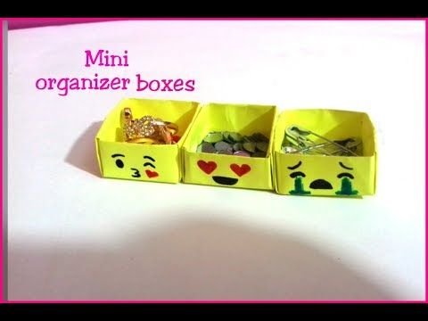 DIY How to make Mini Paper Emoji Organizer boxes-Paper craft-Desk decor