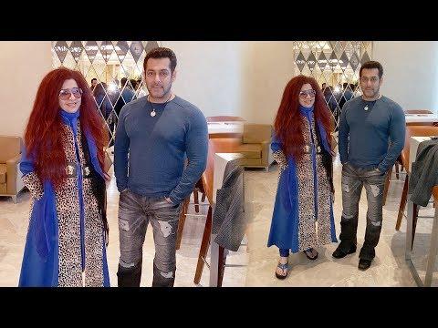 Salman Khan Clicks With Shahnaz Husain @ Mumbai Airport