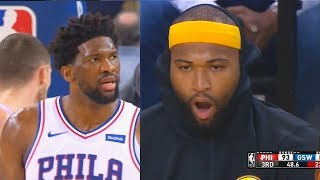 Joel Embiid SHUTS UP DEMARCUS COUSINS FOR STARING HIM DOWN AFTER BASIC DUNK WITH WINDMILL DUNK!