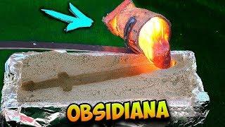 hice una espada de obsidiana con lava real y nitrogeno liquido