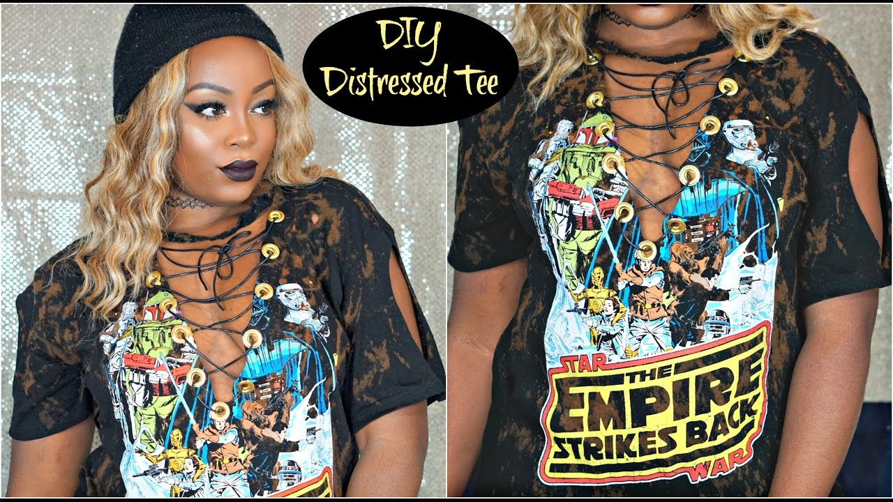 Easy diy vintage distressed t shirt 2016 quick instagram for How to make a distressed shirt