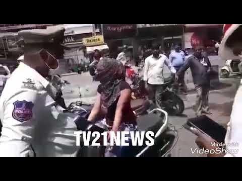 Abids Traffic Police & Bike Rider Lady Between Panic On Road.Traffic Sub Inspector Bike Tak